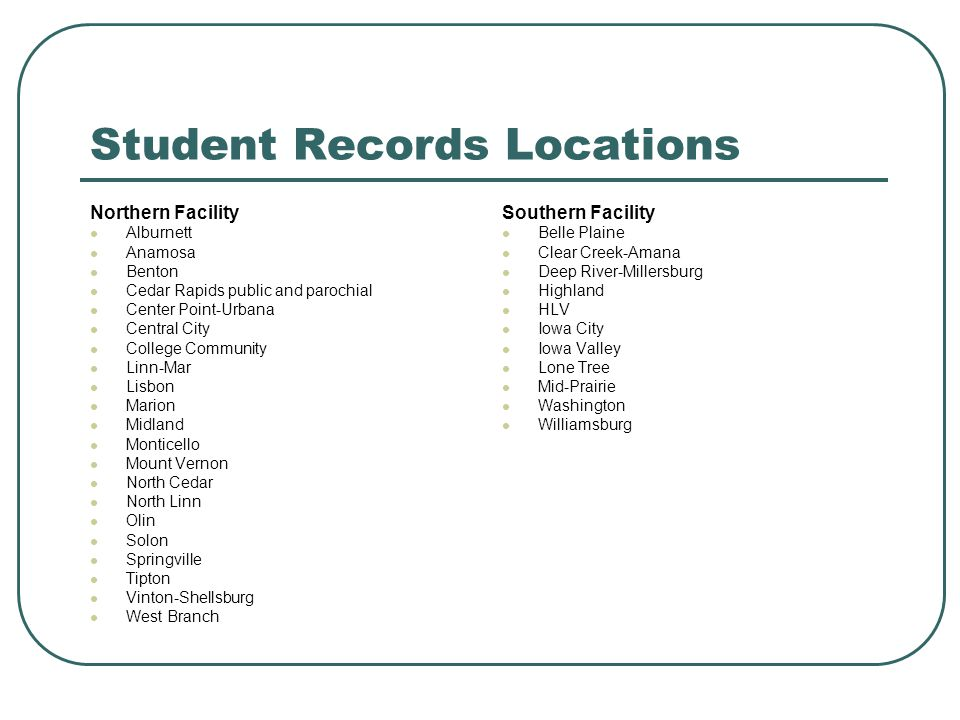 Student Records Locations