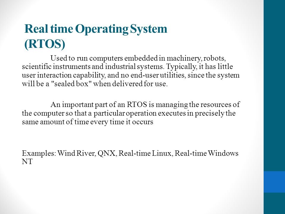 Real time Operating System (RTOS)