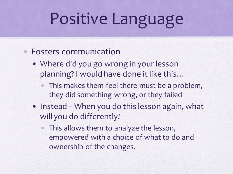 Positive Language Fosters communication