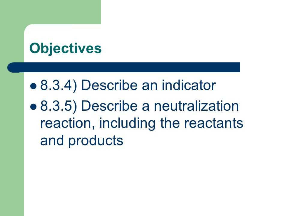 Objectives 8.3.4) Describe an indicator.