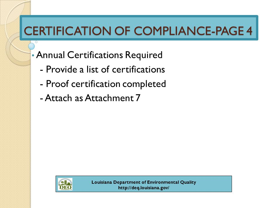 Certification Of Compliance By Evita Lagard Ppt Video Online Download