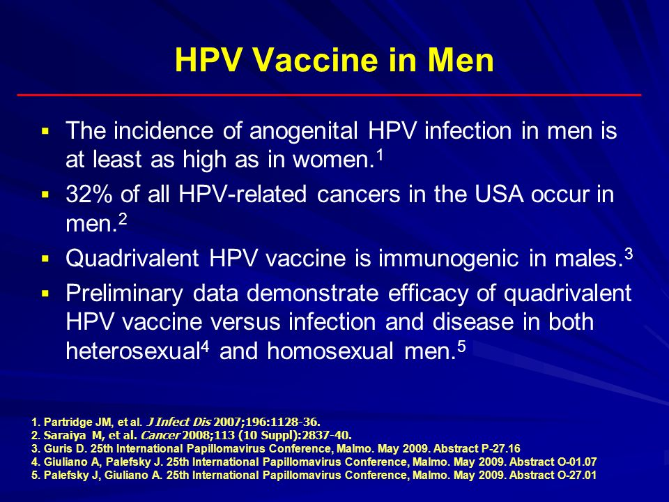 HPV Vaccine in Men The incidence of anogenital HPV infection in men is at least as high as in women.1.