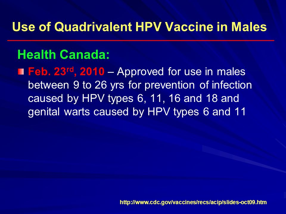 Use of Quadrivalent HPV Vaccine in Males