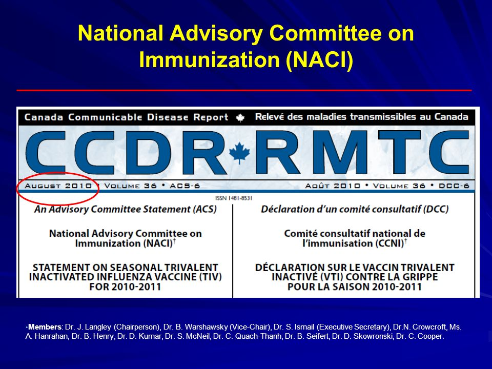 National Advisory Committee on Immunization (NACI)
