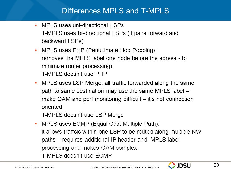 Differences MPLS and T-MPLS