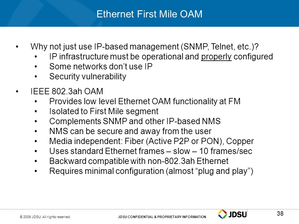 Ethernet First Mile OAM