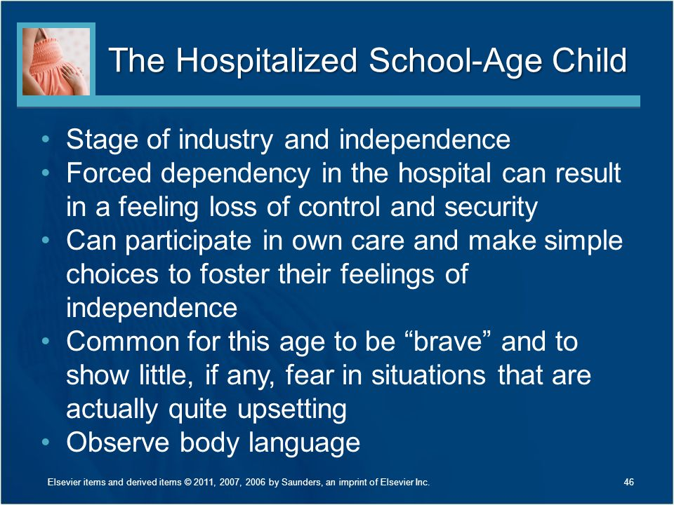 The Hospitalized School-Age Child