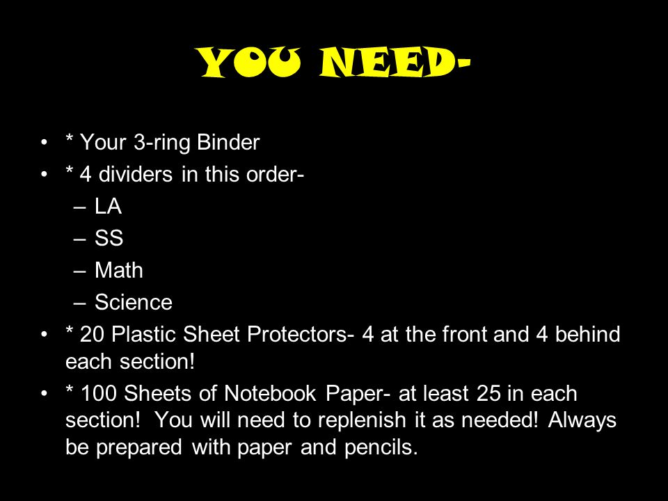 YOU NEED- * Your 3-ring Binder * 4 dividers in this order- LA SS Math