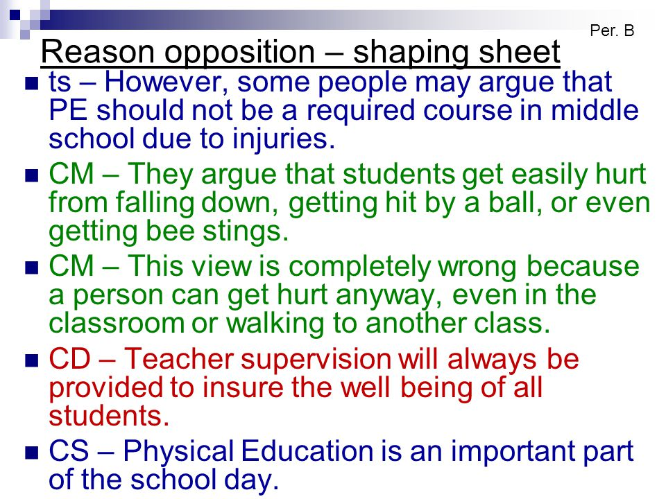 Reason opposition – shaping sheet