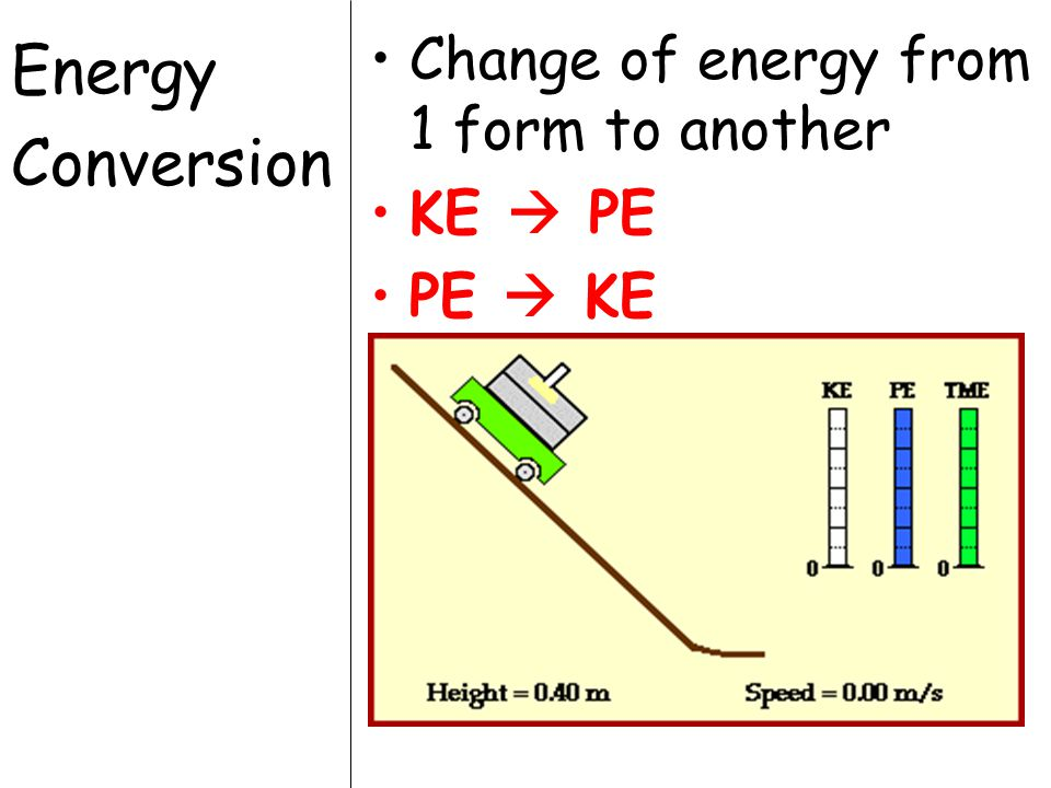 Energy Conversion Change of energy from 1 form to another KE  PE