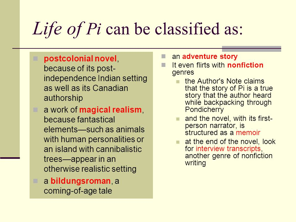 Life of Pi can be classified as: