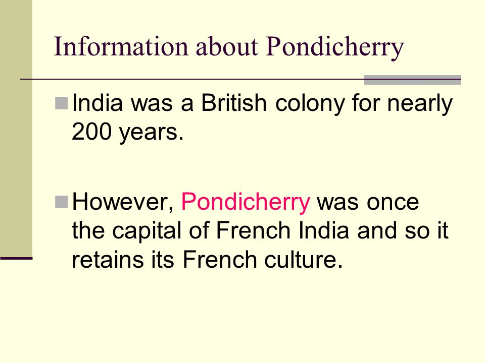 Information about Pondicherry