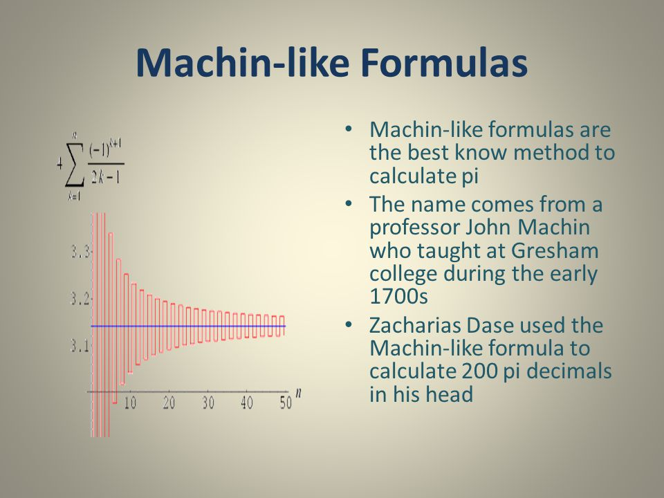 Machin-like Formulas Machin-like formulas are the best know method to calculate pi.