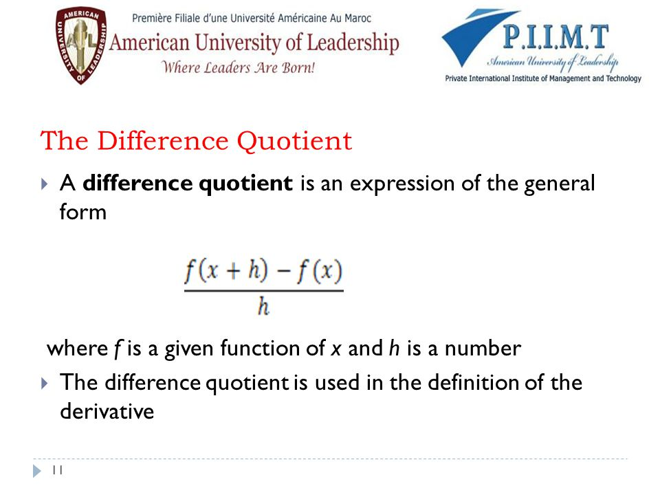 The Difference Quotient
