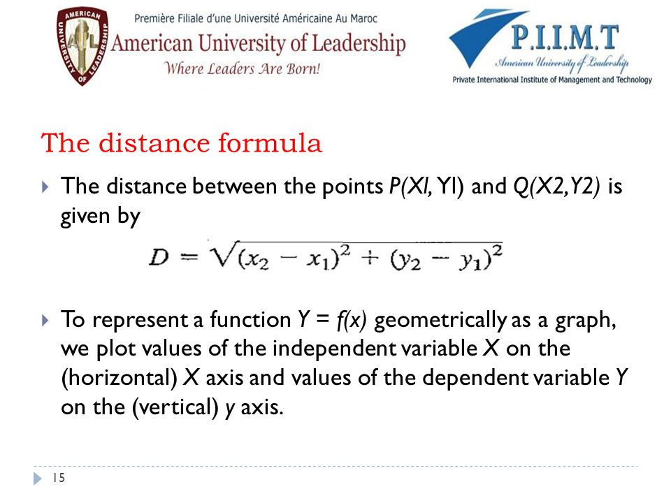 The distance formula The distance between the points P(Xl, Yl) and Q(X2, Y2) is given by.