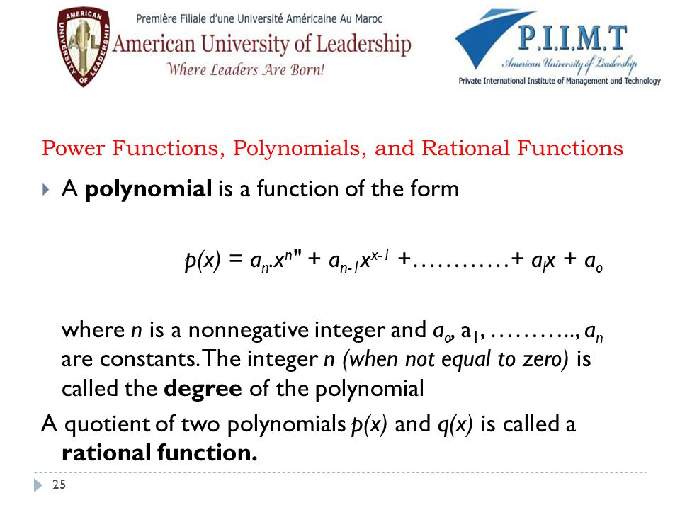 Power Functions, Polynomials, and Rational Functions