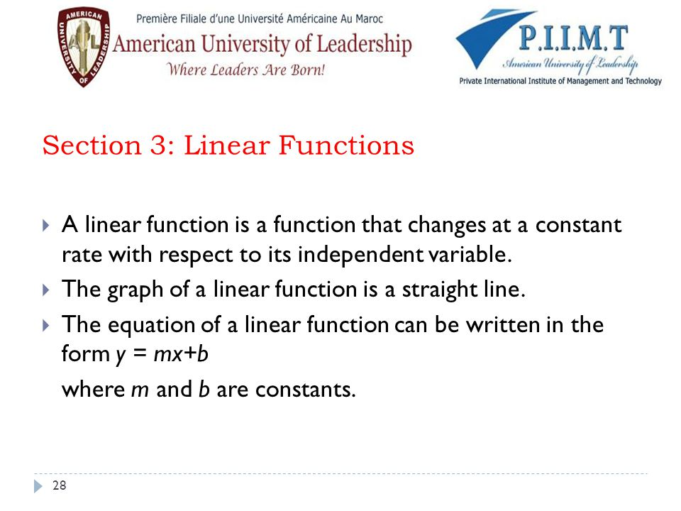 Section 3: Linear Functions