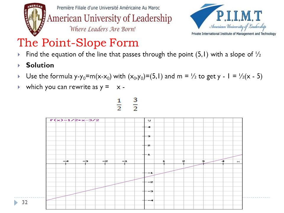 The Point-Slope Form Find the equation of the line that passes through the point (5,1) with a slope of ½.