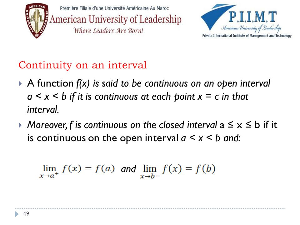 Continuity on an interval