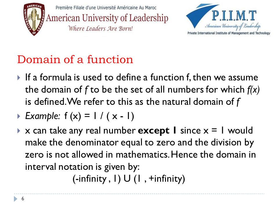Domain of a function
