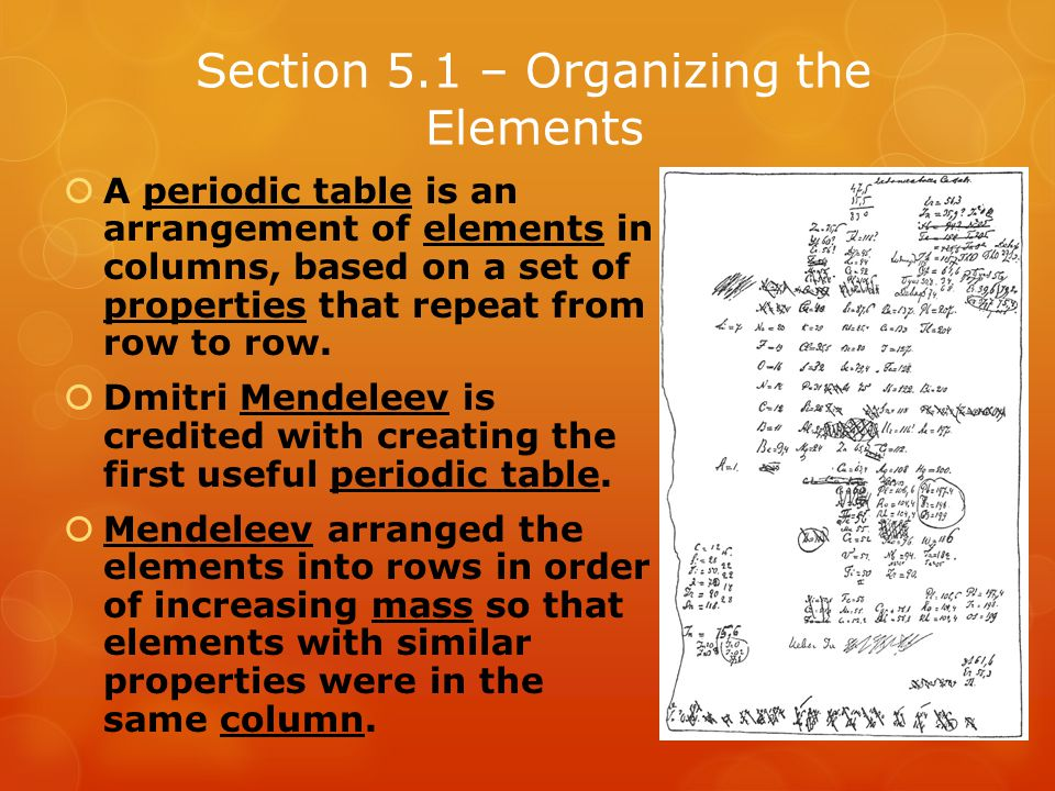 Section 5.1 – Organizing the Elements