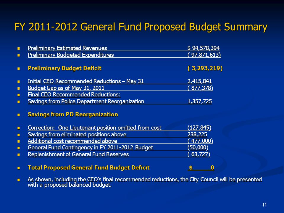 FY 2011-2012 General Fund Proposed Budget Summary