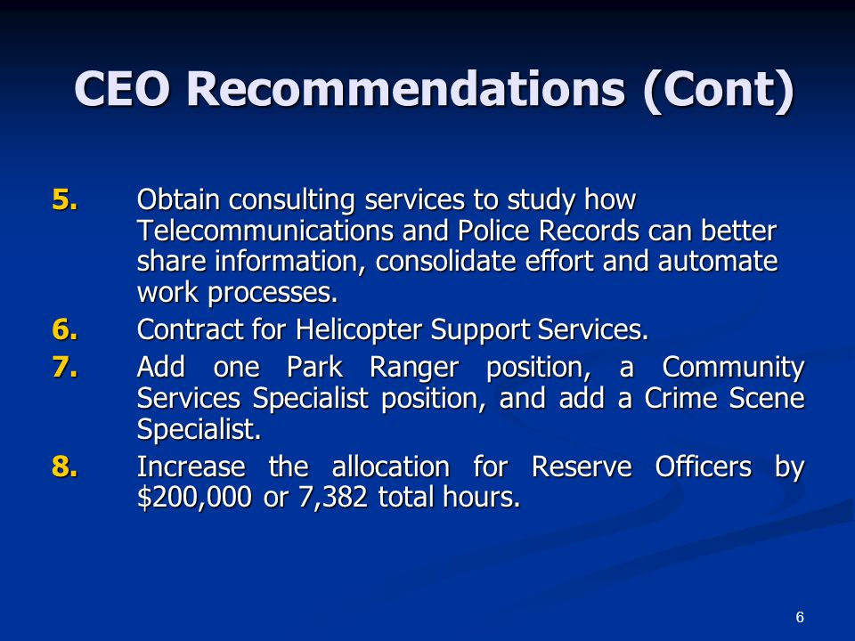 CEO Recommendations (Cont)