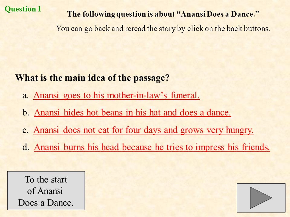 The following question is about Anansi Does a Dance.