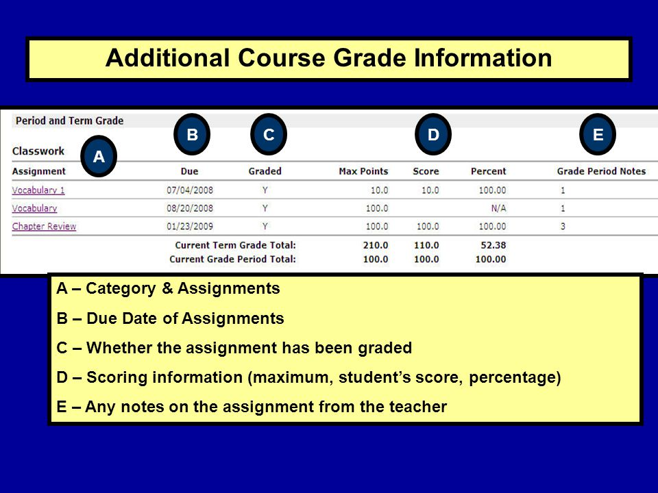 Additional Course Grade Information