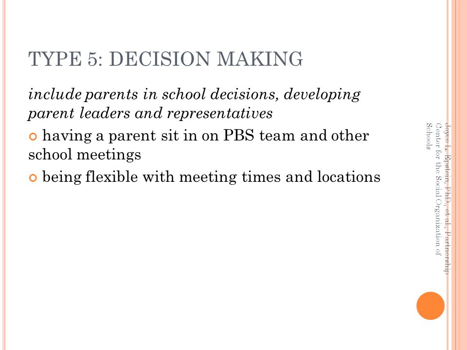 TYPE 5: DECISION MAKING include parents in school decisions, developing parent leaders and representatives.
