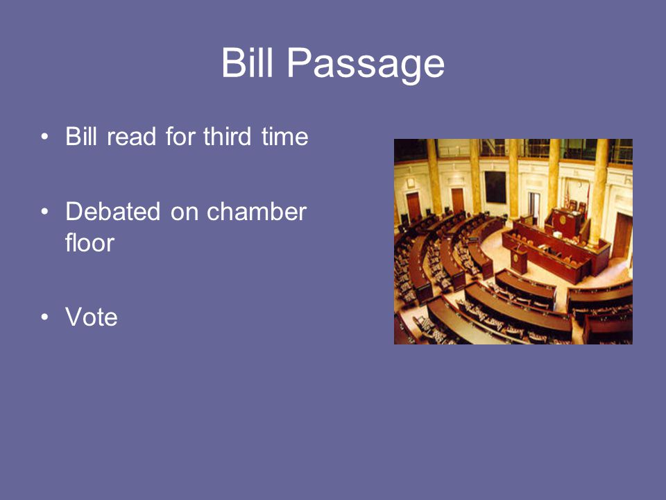 Bill Passage Bill read for third time Debated on chamber floor Vote