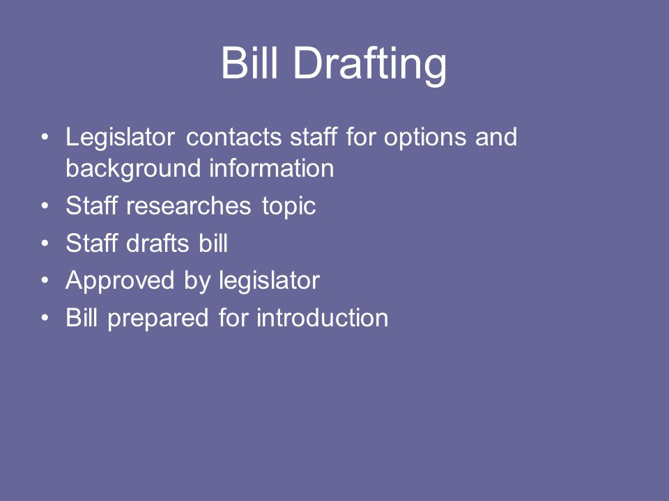 Bill Drafting Legislator contacts staff for options and background information. Staff researches topic.