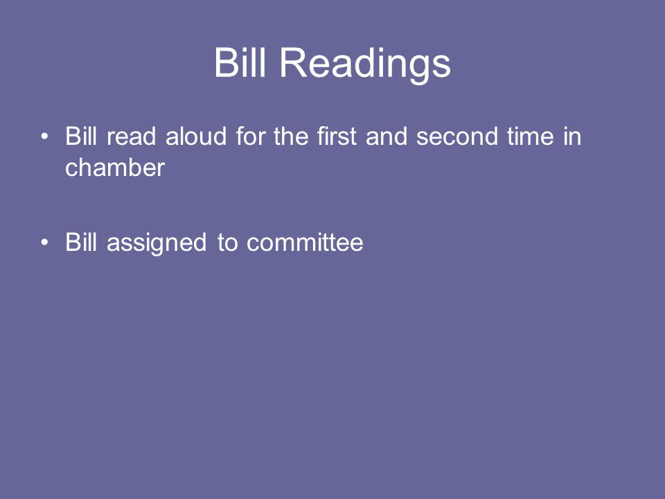 Bill Readings Bill read aloud for the first and second time in chamber