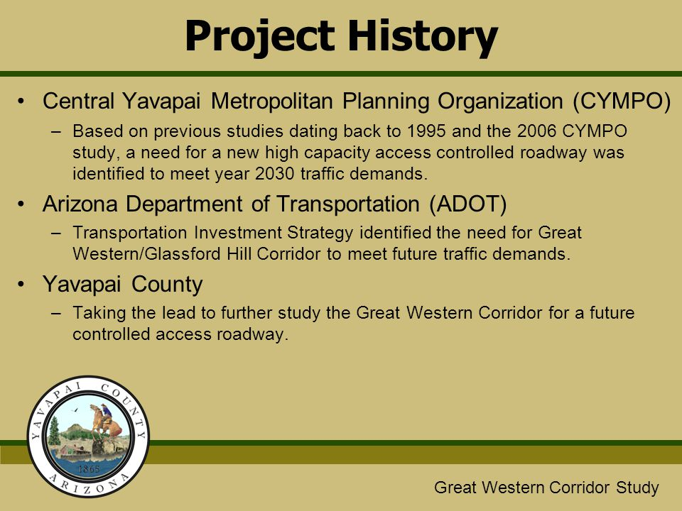 Project History Central Yavapai Metropolitan Planning Organization (CYMPO)