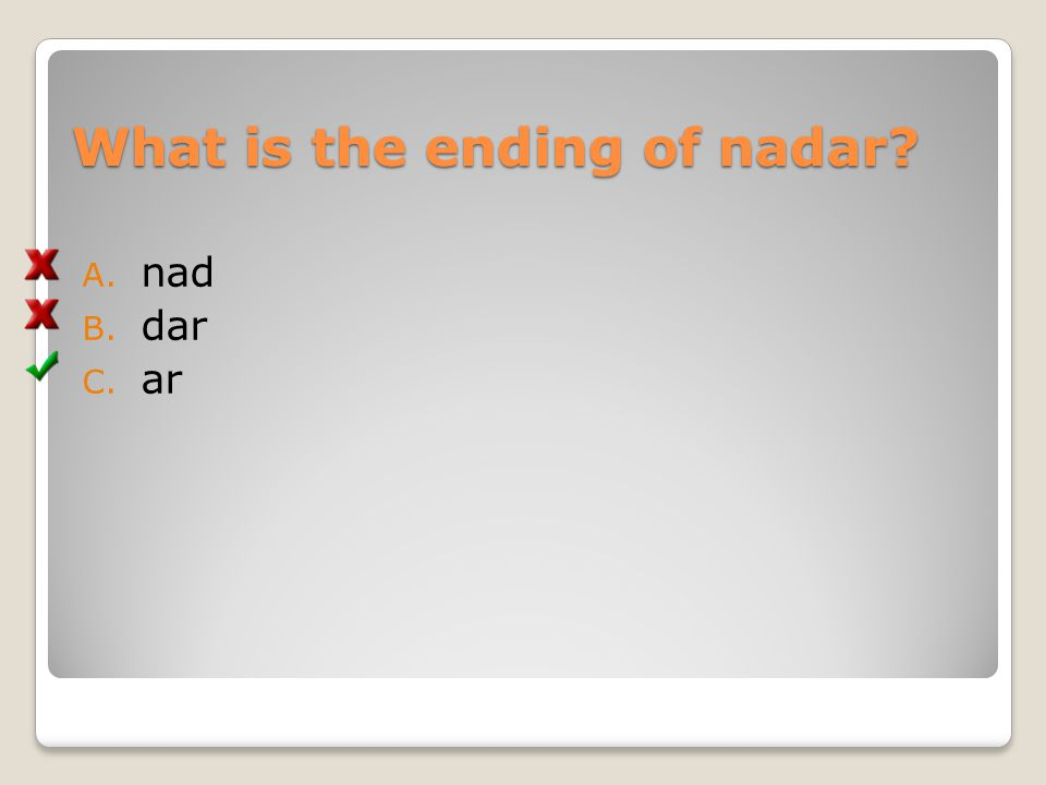 What is the ending of nadar