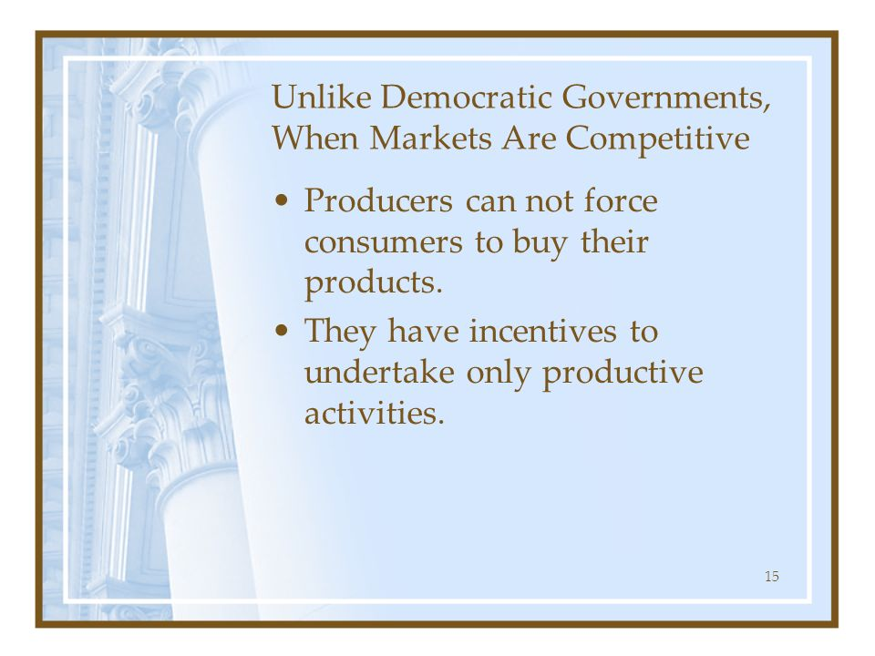 Unlike Democratic Governments, When Markets Are Competitive