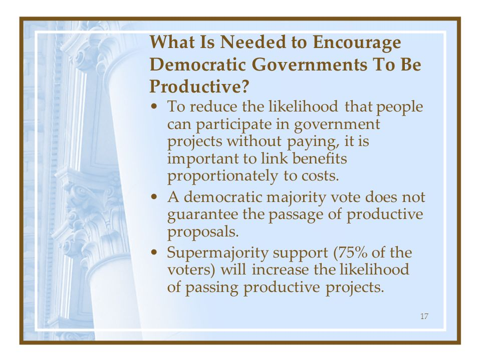 What Is Needed to Encourage Democratic Governments To Be Productive