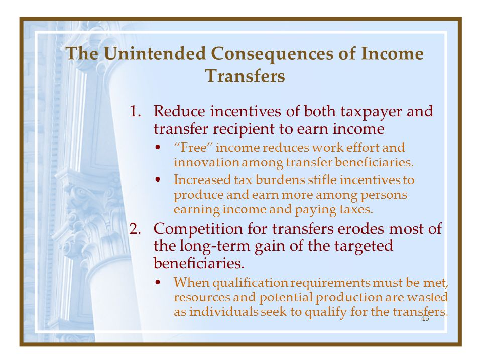 The Unintended Consequences of Income Transfers