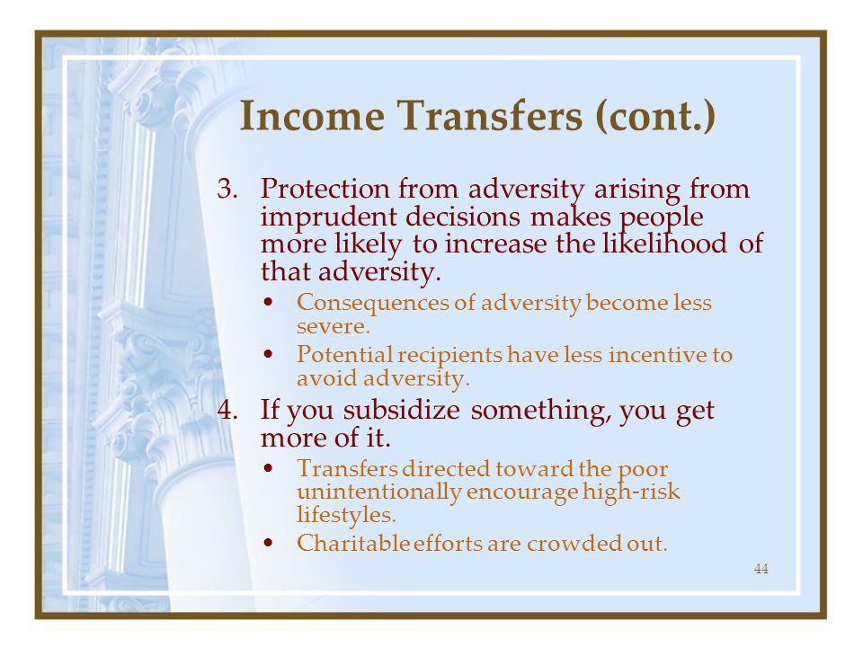 Income Transfers (cont.)