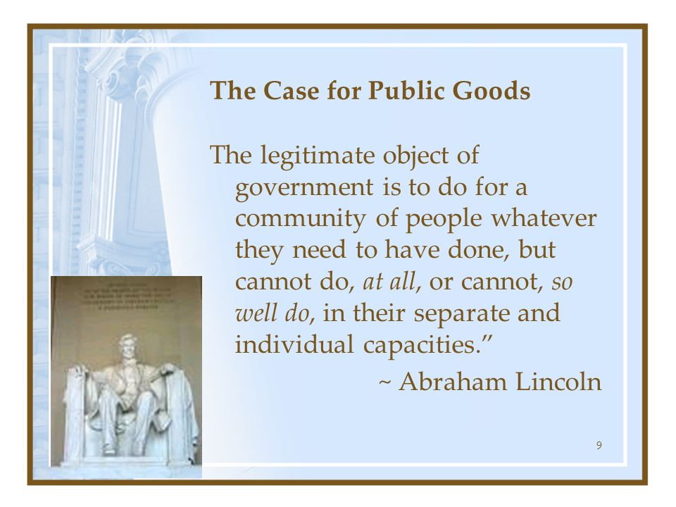 The Case for Public Goods