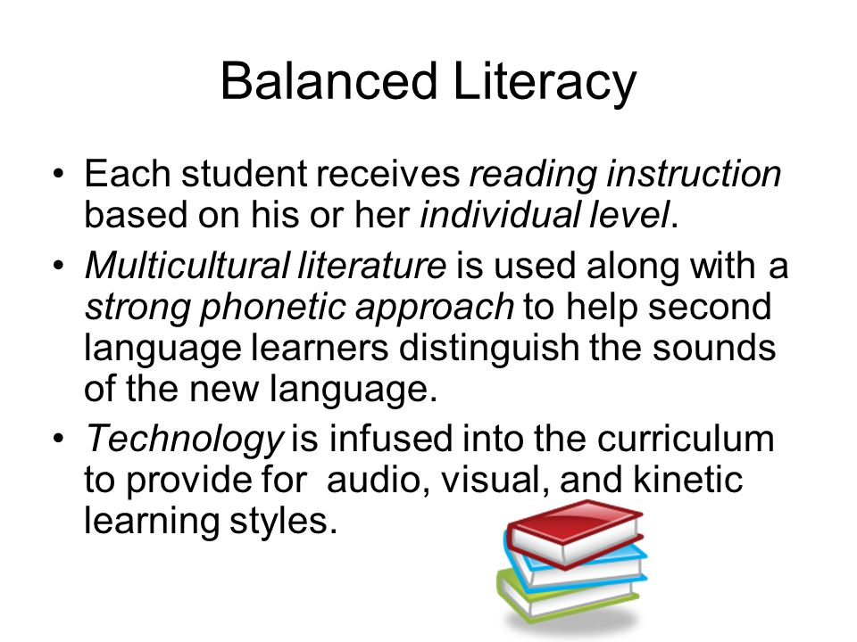 Balanced Literacy Each student receives reading instruction based on his or her individual level.