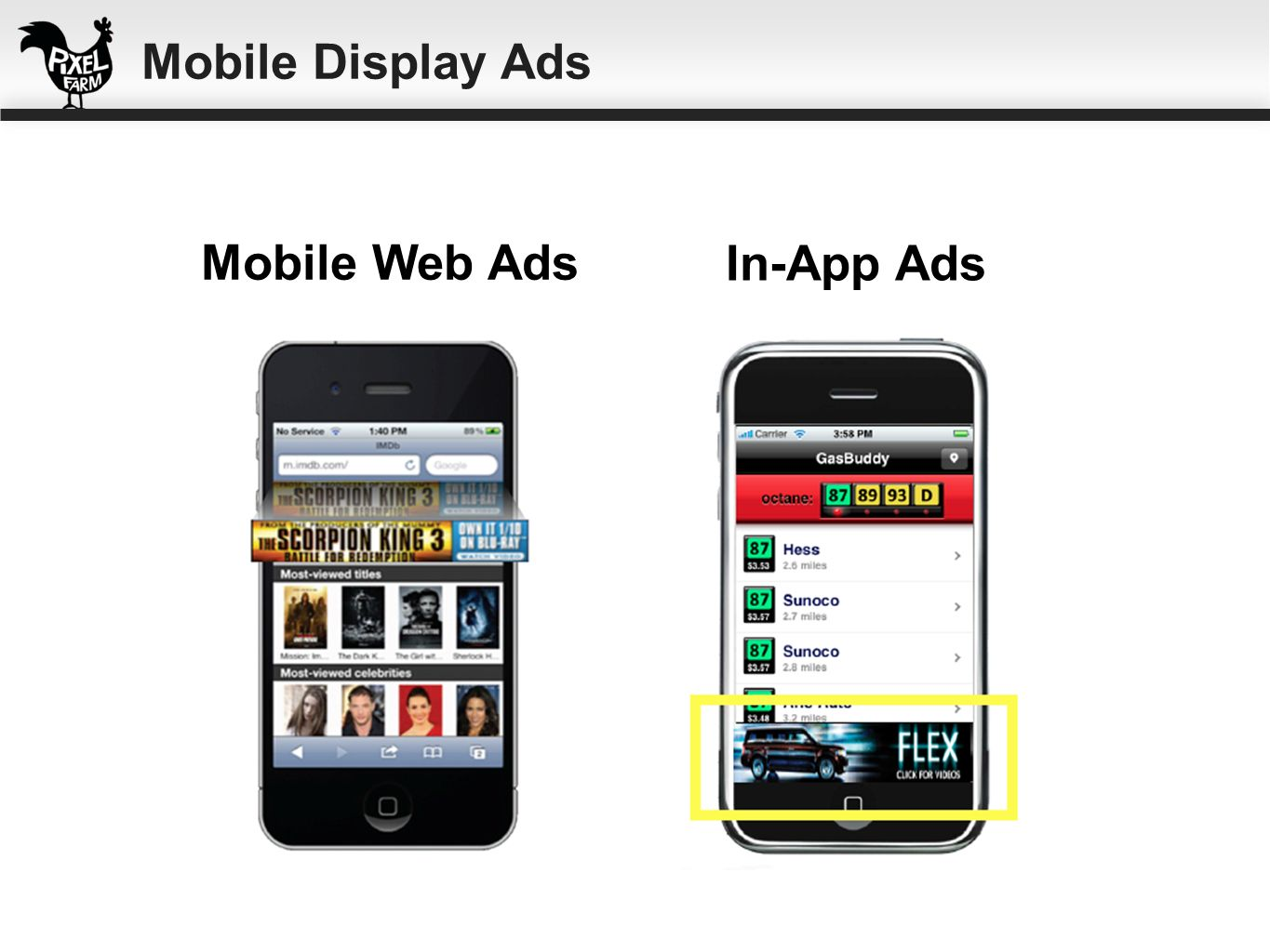 Mobile Display Ads Mobile Web Ads In-App Ads