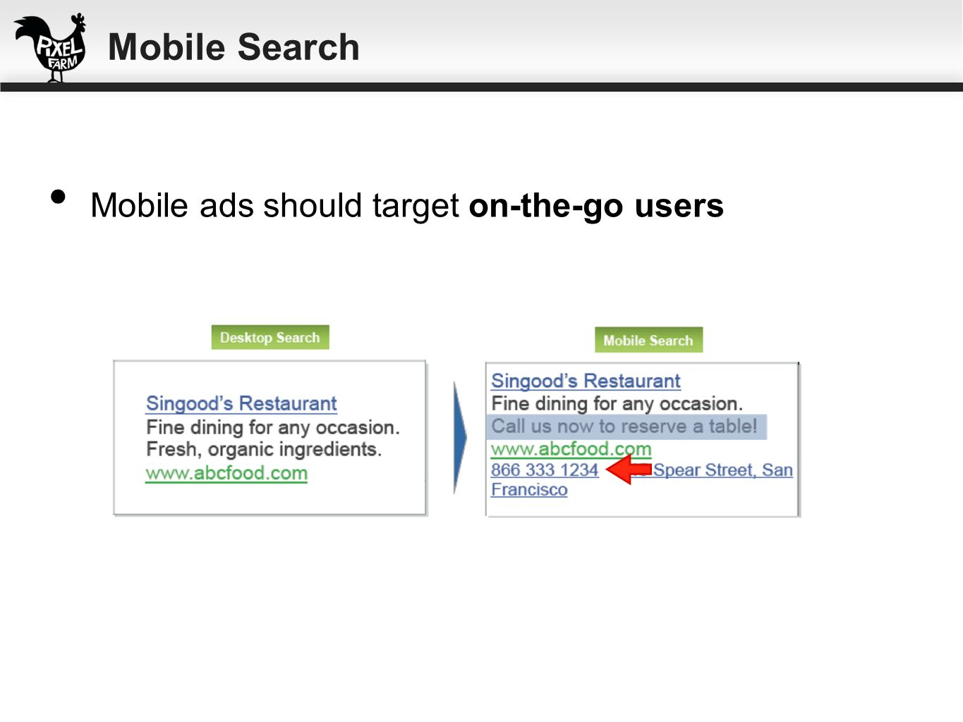 Mobile Search Mobile ads should target on-the-go users