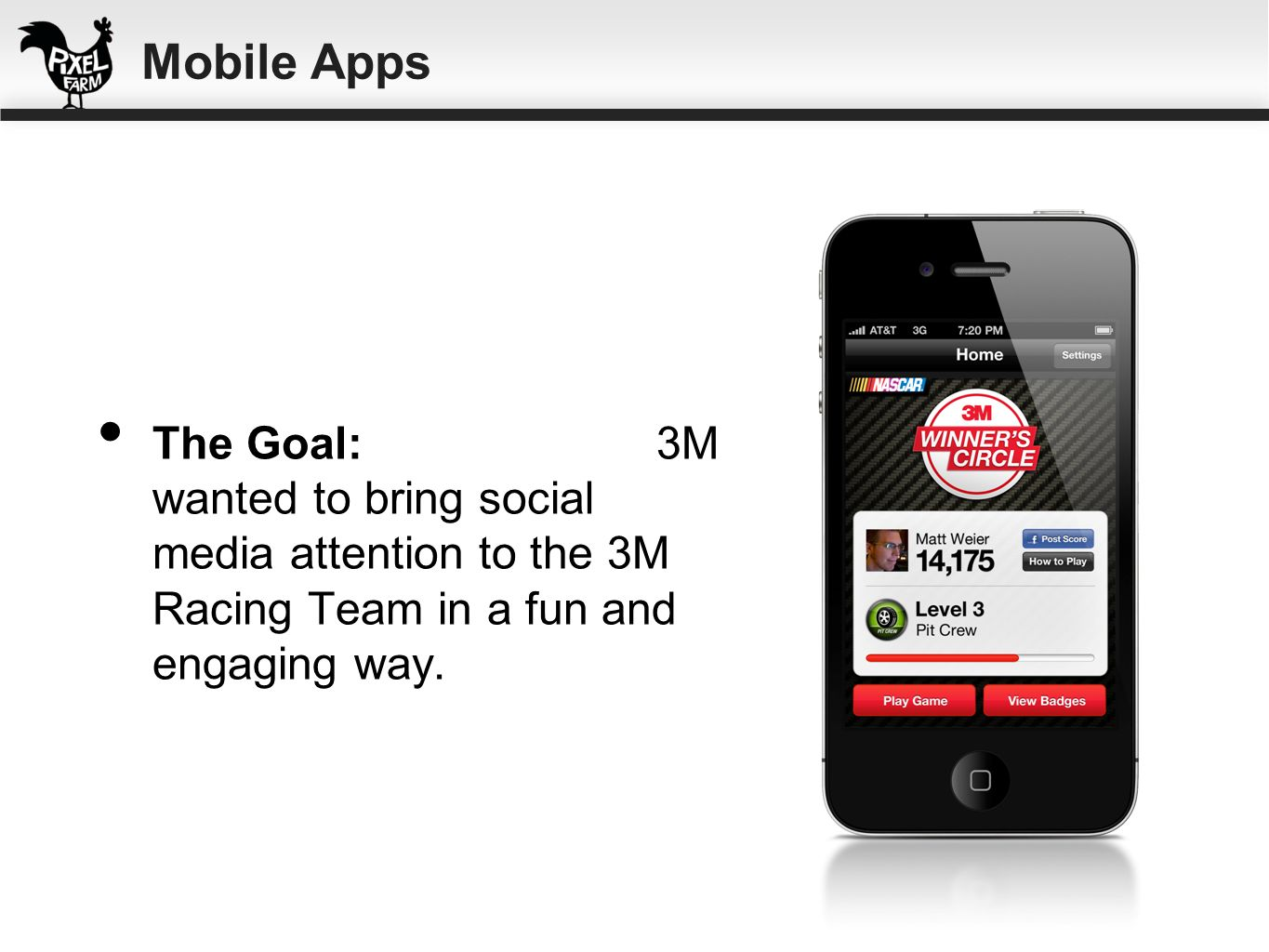 Mobile Apps The Goal: 3M wanted to bring social media attention to the 3M Racing Team in a fun and engaging way.