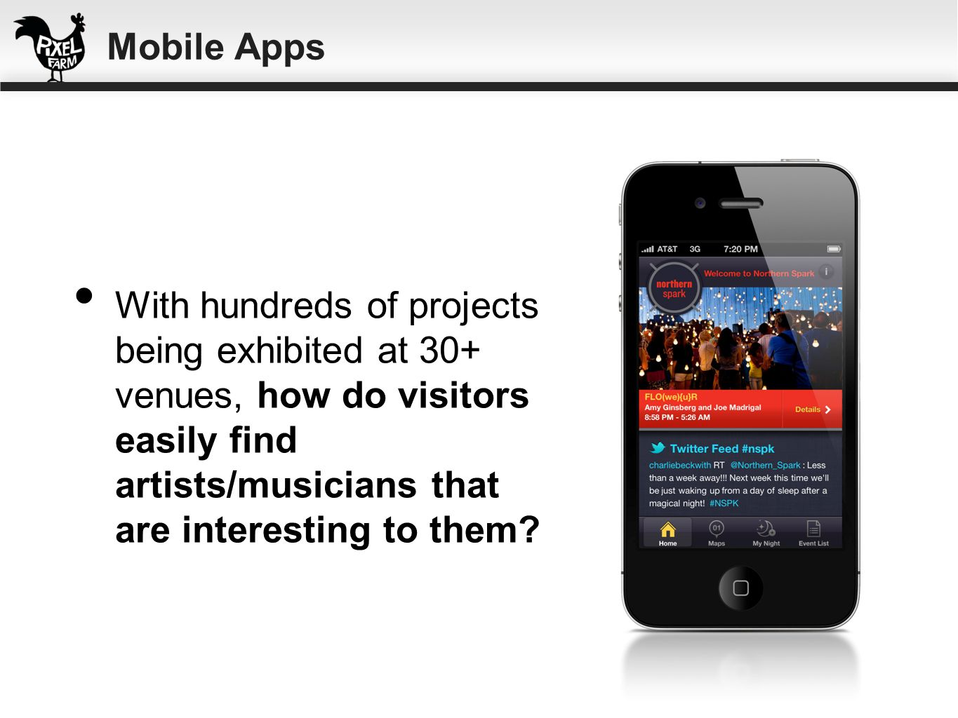 Mobile Apps With hundreds of projects being exhibited at 30+ venues, how do visitors easily find artists/musicians that are interesting to them