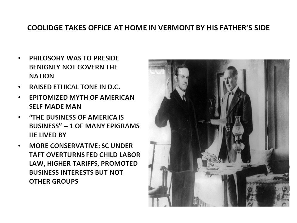 COOLIDGE TAKES OFFICE AT HOME IN VERMONT BY HIS FATHER'S SIDE