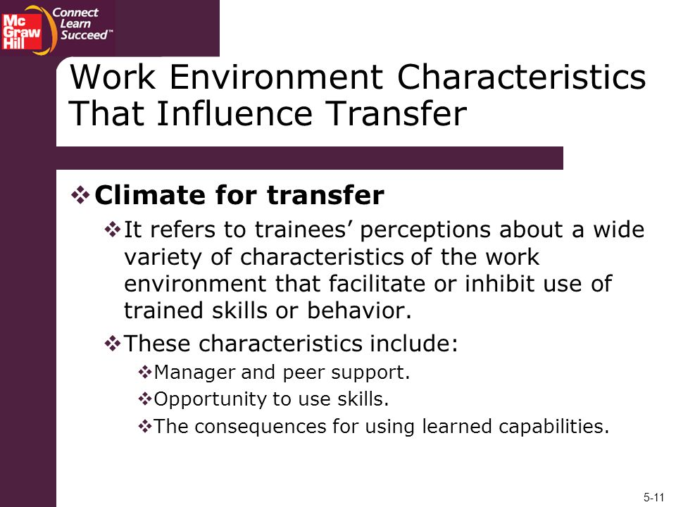 Work Environment Characteristics That Influence Transfer