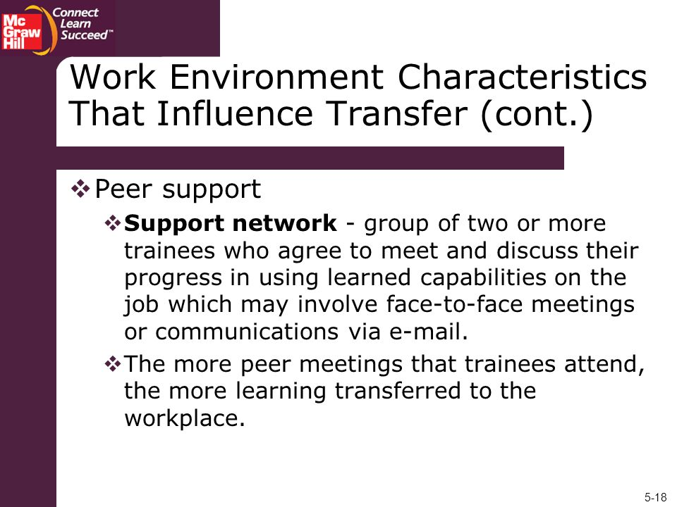 Work Environment Characteristics That Influence Transfer (cont.)