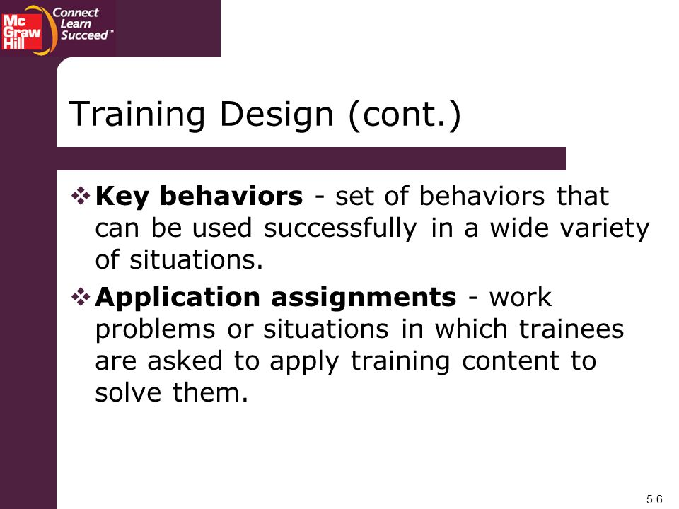 Training Design (cont.)