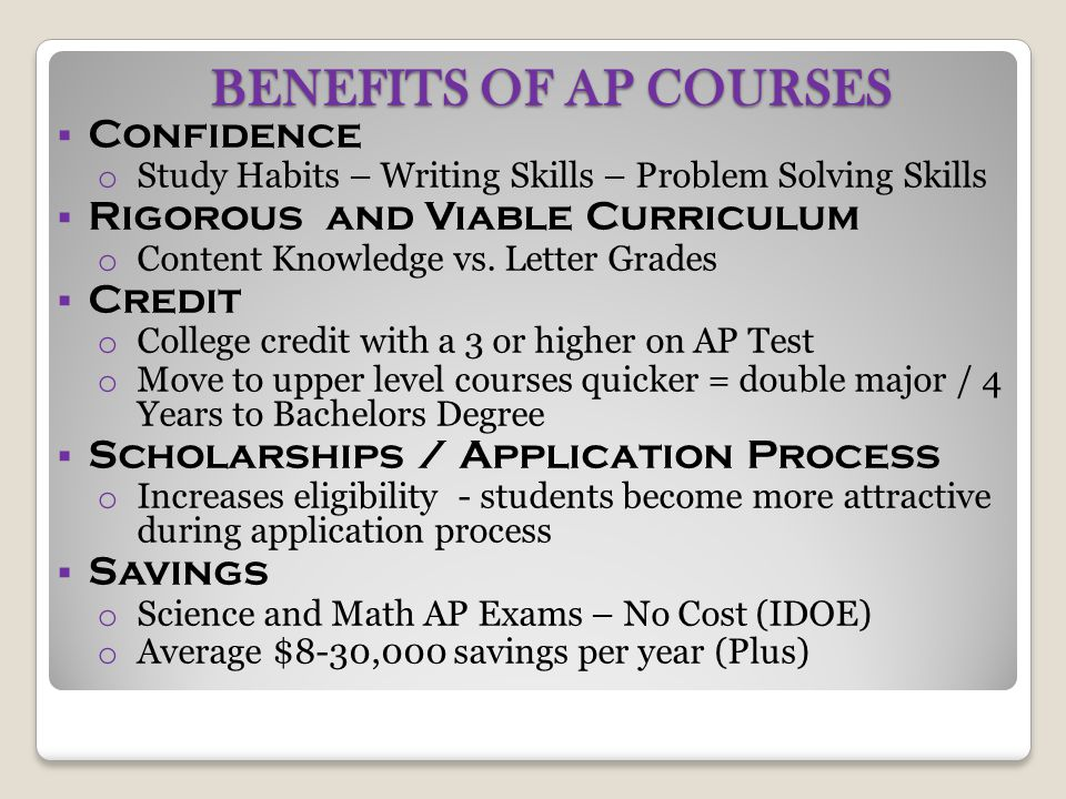 BENEFITS OF AP COURSES Confidence Rigorous and Viable Curriculum